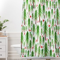 Heather Dutton Christmas Tree Farm Shower Curtain And Mat