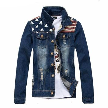 American Flag Printed Slim Fit Denim Jacket
