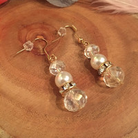 Flapper Style Clear Iridescent Pearl Rhinestone Earrings Gold Dangle 1920's Art Deco Beaded 1920s Gatsby 20s Jewelry Downton Abbey Vintage