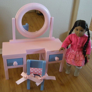 Dressing Table Vanity with Round Mirror for American Girl Doll or 18-inch Doll