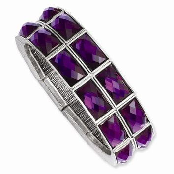 Silver-tone Purple Epoxy Stones Stretch Bracelet