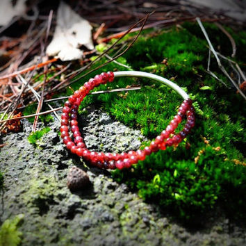 925 Sterling Silver Smooth Tubule with Garnet by LeatherStory