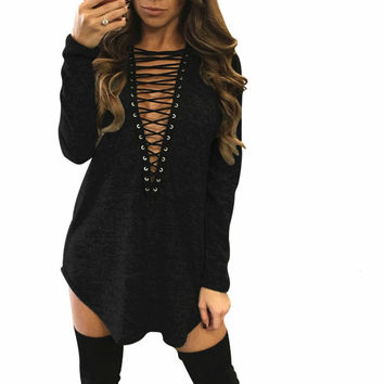 Camisetas Mujer 2017 New Arrival Women Long Sleeve Lace Up Bandage T-Shirt Casual Hollow Out Tee Shirt Femme Vetement Femme