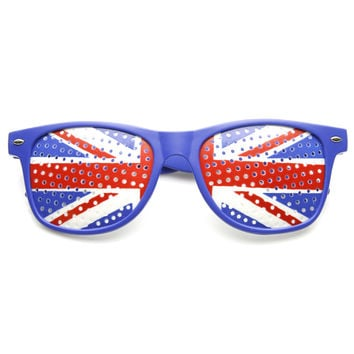 Horned Rim Mesh United Kingdom UK Union Jack Sunglasses 9458