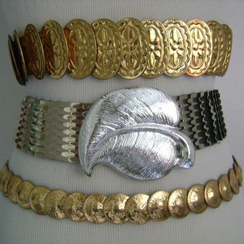 Gold& Silver Metal Scaled Scales Snake or Fish Overlapping Oval Circle Disk Disc Flower Motif Designs Stretch Elastic Belts Belt Leaf Buckle
