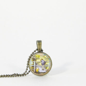 Little Pooh and Piglet Christopher Robin Petite Small Layering Necklace Pendant Jewelry