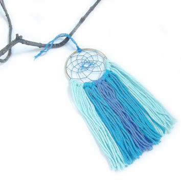 Blue Dream Catcher Blue Dreamcatcher Blue Wall Hanging Small Dream Catcher Yarn Wall Hanging Bohemian Wall Decor Nursery Crib Mobile