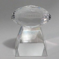 Oval optical GLASS football faceted, Gift crystal / award for etching