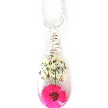 Pink Daisy and Baby Breath Necklace - Real Flowers Encased in Resin - Pressed Flower Jewelry - Wire Wrapped Pendant - Resin Jewelry
