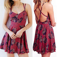 Cute Pretty Hailey Cross Back Strap Floral Print A-Line Dress - Red