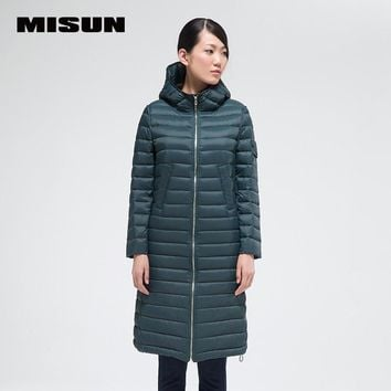 2017 spring  misun thin down coat long straight design brief fashion with a hood newarrive down jackets for women winter fashion