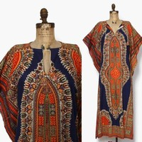 Vintage 70s Boho Dashiki Dress / 1970s Pointed Sleeve Batik Print Cotton Caftan Maxi