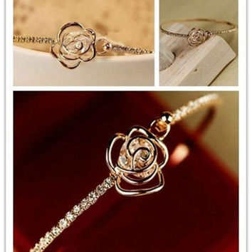 Elegant Lady Fashion Rhinestone Camellia Rose Gold Bangle Cuff Bracelet Jewelry = 1958453636