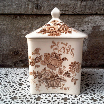 Sugar Canister, Lidded Jar, Brown Floral, Charlotte Royal Crownford, Ironstone, England, Biscuit Jar