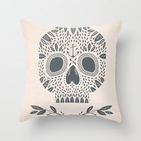 LEAF SKULL Throw Pillow by Kelli Murray | Society6