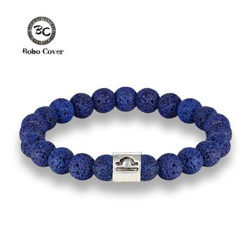 New 12 Zodiac Signs 8mm Beads Bracelets Handmade Vintage Blue Lava Stone Beads Elastic Bracelets Jewelry For Men Women Jewelry