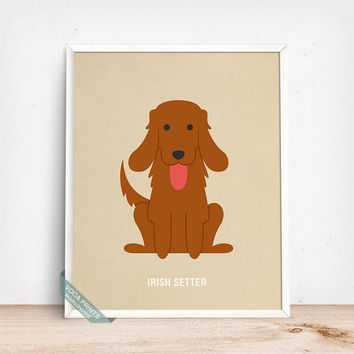 Irish Setter Print, Irish Setter Poster, Dog Print, Irish Dog, Ireland Dog, Red Setter, Dog Breed, Home Decor, Wall Art, Fathers Day Gift