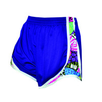Womens Split Shorts purple with psychedelic side colors