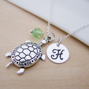 Turtle Charm - Personalized Sterling Silver Necklace
