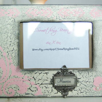 Distressed 4X6 Picture Frame, Memories, Black, White, Light Pink