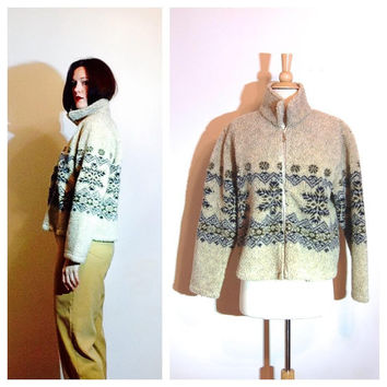 Cozy Winter Coat Native American Cropped Jacket Earth Tones Boho Cute Outdoors Chic size Large