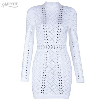 Adyce New Winter Women Runway Dress White Diamonds Studded Long Sleeve Bandage Dress Evening Party Dresses Vestidos