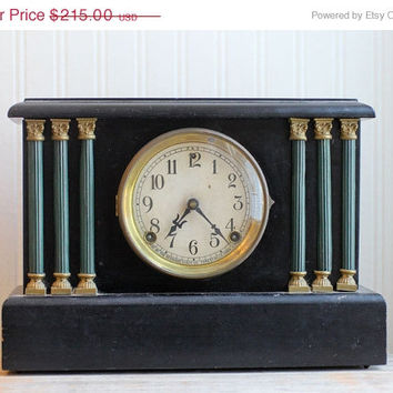 SALE Sessions Antique Clock, Mantel Clock, Wood Clock, 6 Pillar clock, Corinthian Column, Black, Wooden Case, Sessions Clock Company, Forest