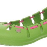 crocs Women's Springi Flat,Parrot Green/Hot Pink,10 M US
