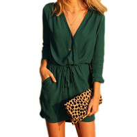 New 2016 Stylish Women Summer Dress Vestidos Sexy V-Neck Long Sleeve Loose Mini Chiffon Dress casual dress dresses vestido