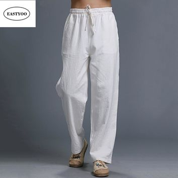 White Linen Pants Men Summer Casual Pants Ethnic Loose Straight Pants Long Trousers Plus Size Drawstring White Long Trousers