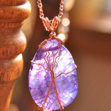 Dragons vein agate necklace, purple agate, copper necklace, wire wrapped pendant, handmade necklace, Montana made, boho purple necklace,OOAK