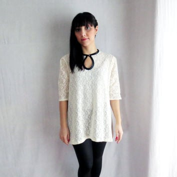 White lace tunic top with black details - lace top,cream lace top,lace tunic, lace mini dress,womens clothes,lace shirt