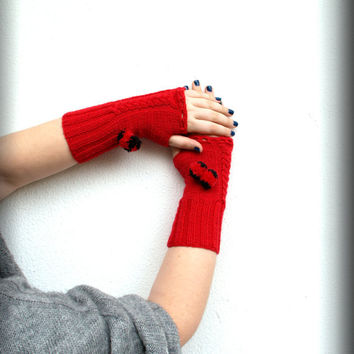 Fingerless Red Gloves, Handmade, Hand knitted Red with detachable black and red pom poms