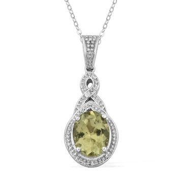 Olive Apatite Platinum Over Sterling Silver Braided Pendant With Chain