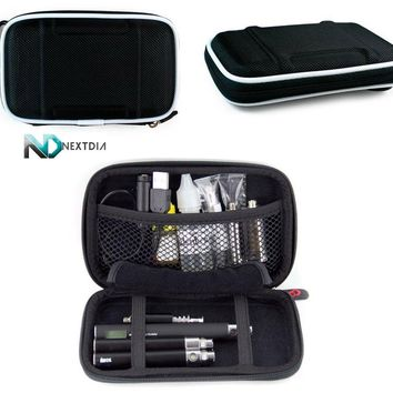 Electronic Cigarette Case - Compatible with - Vamo V2 / Semi-hard Shell (Black Nylon) & Karabiner-Styled Hook for Keys + NextDia Cable Wrap