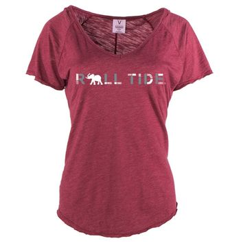 Official NCAA Venley University of Alabama Crimson Tide UA ROLL TIDE! Women's Tommy V-Neck Tee