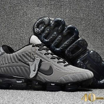 DCCK N361 Nike Air Vapormax 2018 Flyknit Sports Casual Mid Running Shoes Grey Black