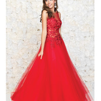 Red Embroidered Lace & Tulle Gown