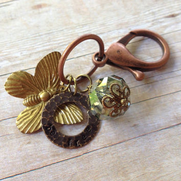 """Butterfly """"Be Free"""" Keychain or Bag Charm, Hand Stamped"""