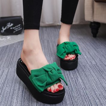 Women Bow Patch 6.5 Cm High Heel Slippers
