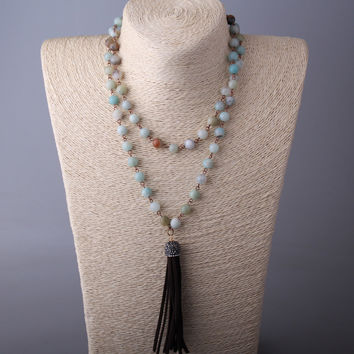 Fashiom Amazonite Stones Rosary Chain Crystal Tassel Necklace
