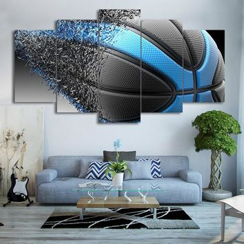 Canvas Art Blue Black Basketball Disintegration Print Wall Art Print