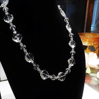 Art Deco Crystal Necklace / Fancy Faceted Beads / 22 Matinee Strand