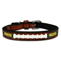 NFL Classic Leather Football Dog Collar - Green Bay Packers