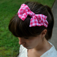 Pink and White Gingham Bow Headband