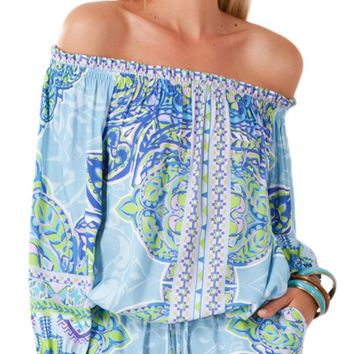 Paisley Printed Off Shoulder Romper
