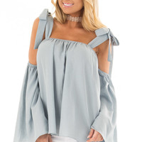 Faded Blue Bare Shoulder Top with Tie Details