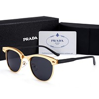 Prada Fashion Women Elegant Summer Sun Shades Eyeglasses Glasses Sunglasses Golden/Black I12602-1