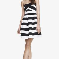 ELASTIC STRIPE FIT AND FLARE DRESS from EXPRESS