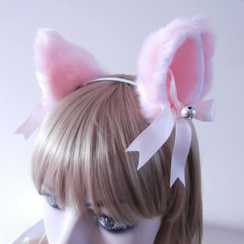 Faux Fur Rounded Miss Piggy Cat Ear Hair Clips Pink White Bells Satin Ribbon Bow Lolita Neko Kitty Kawai Soft High Quality Gothic Headband